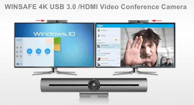 3840x2160 de Conferentiezaal Webcam 4K Ultrahd POE Mics van USB EPTZ voor Laptop/PC/Driepoot